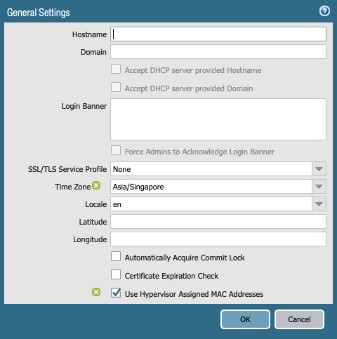 hostname setting not defined by Panorama