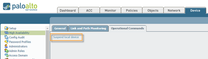 View of PAN-OS Device High Availability screen in Optional Commands