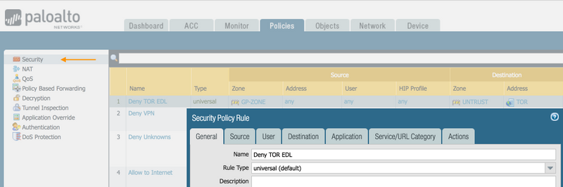 Palo Alto Networks Knowledgebase: How to Block Tor (The