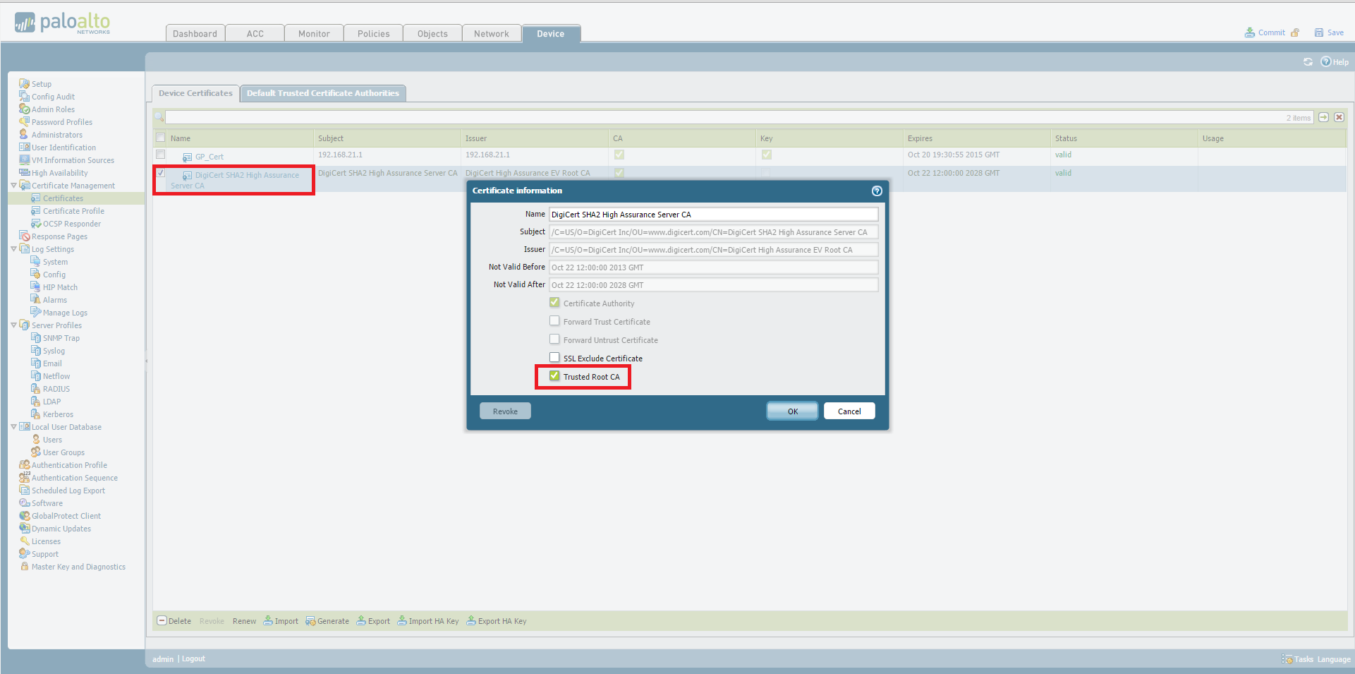 Palo Alto Networks Knowledgebase How To Import The Intermediate Ca