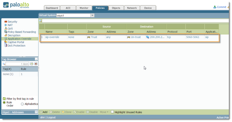 Palo Alto Networks Knowledgebase: SIP Application Override Policy