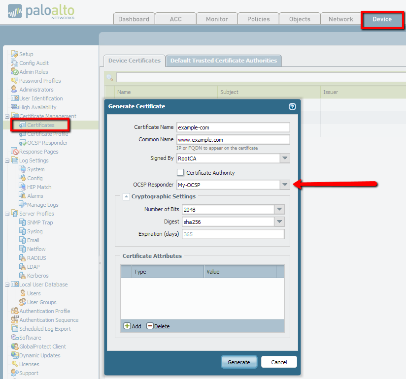 Palo Alto Networks Knowledgebase: How to Configure an OCSP Responder