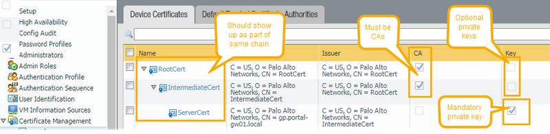 Palo Alto Networks Knowledgebase: Certificate config for