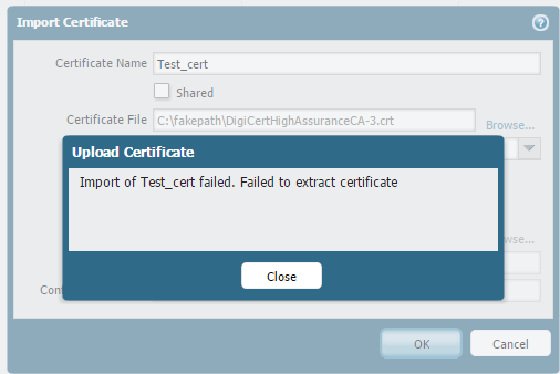 Palo Alto Networks Knowledgebase: Certificate import error