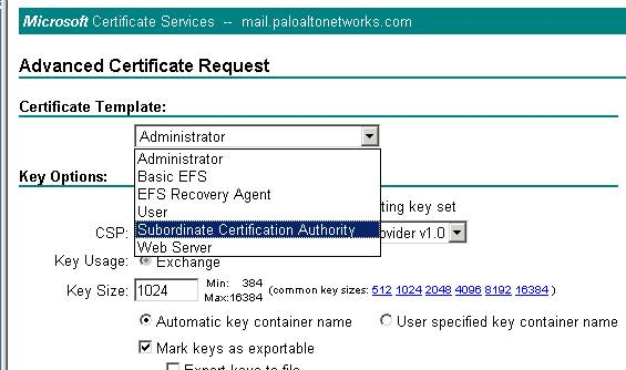 Palo Alto Networks Knowledgebase How To Create Subordinate Ca