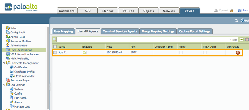Palo Alto Networks Knowledgebase: User-ID Agent Shows as