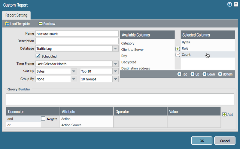 Palo Alto Networks Knowledgebase: How to Create Custom Report to