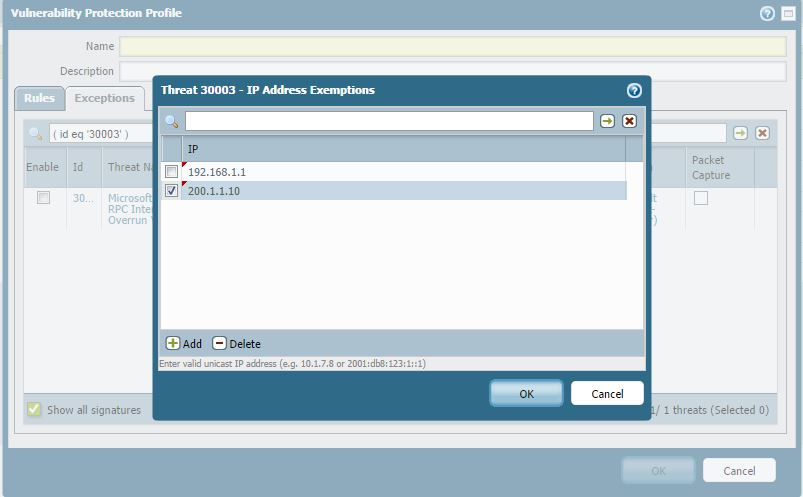 Palo Alto Networks Knowledgebase: Add a Vulnerability Exception to