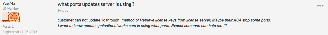 Palo Alto Networks Knowledgebase: DotW: Ports used by the update server