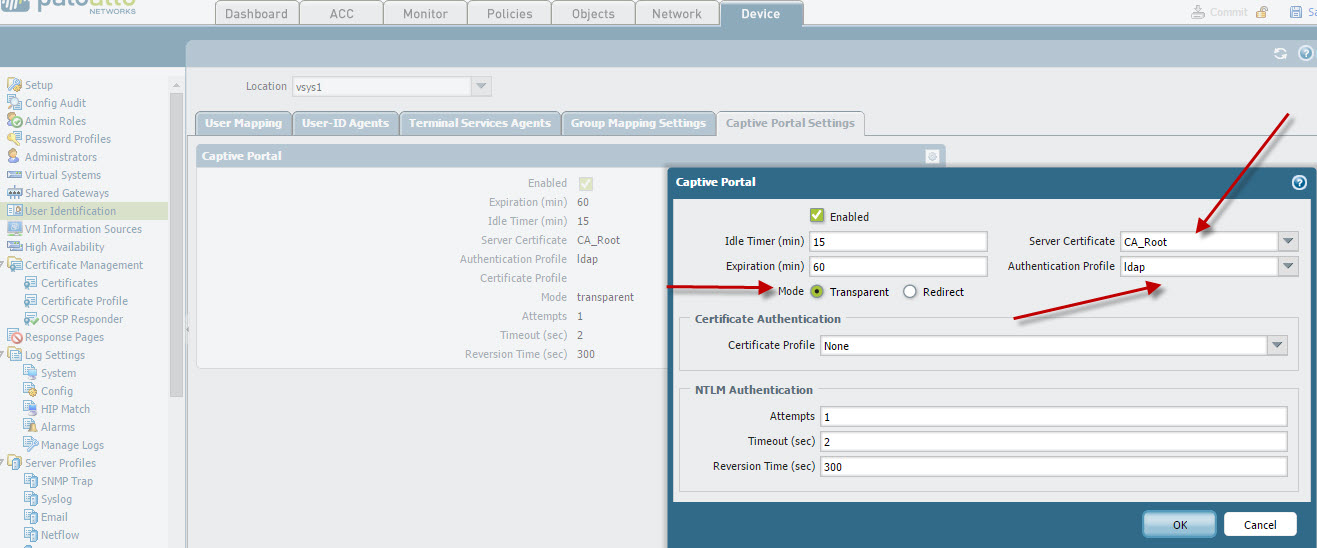 Palo Alto Networks Knowledgebase: Captive Portal Using Transparent
