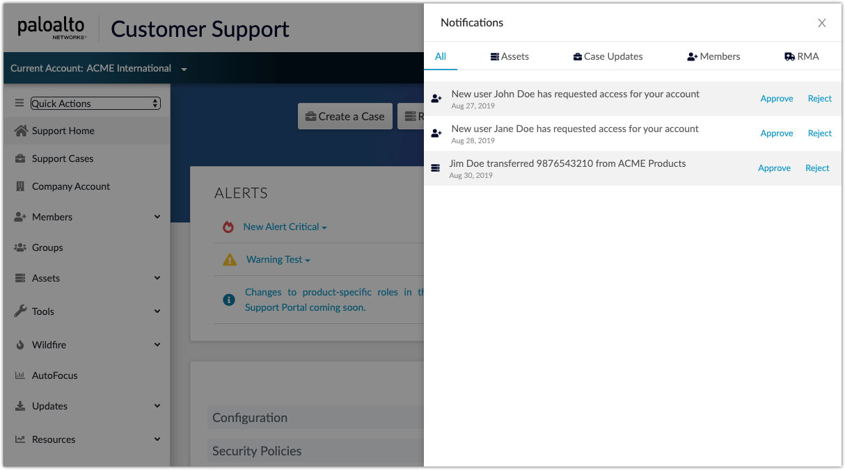 Customer Support Portal Notifications web interface