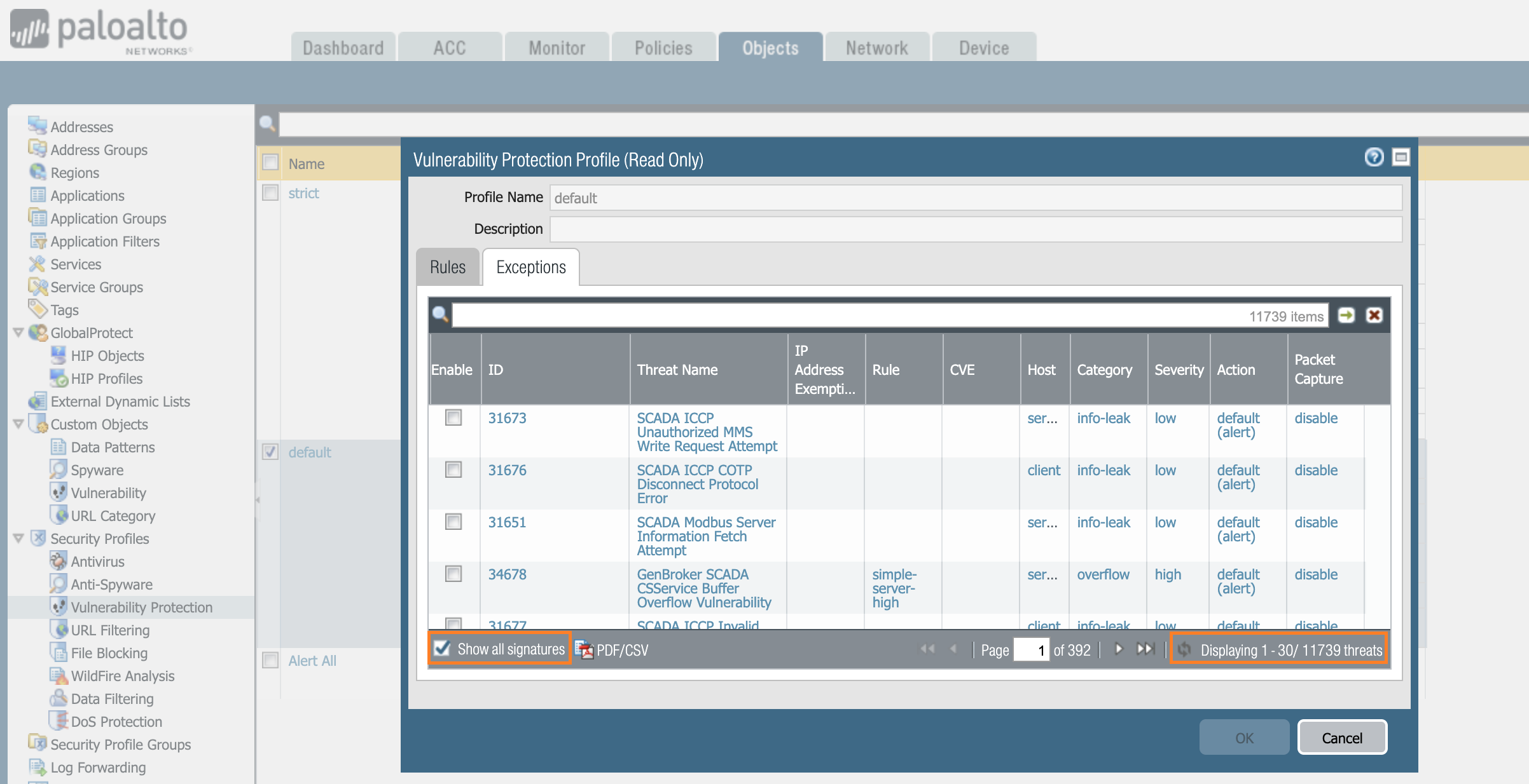 Palo Alto Networks Knowledgebase: How to Export all Vulnerability