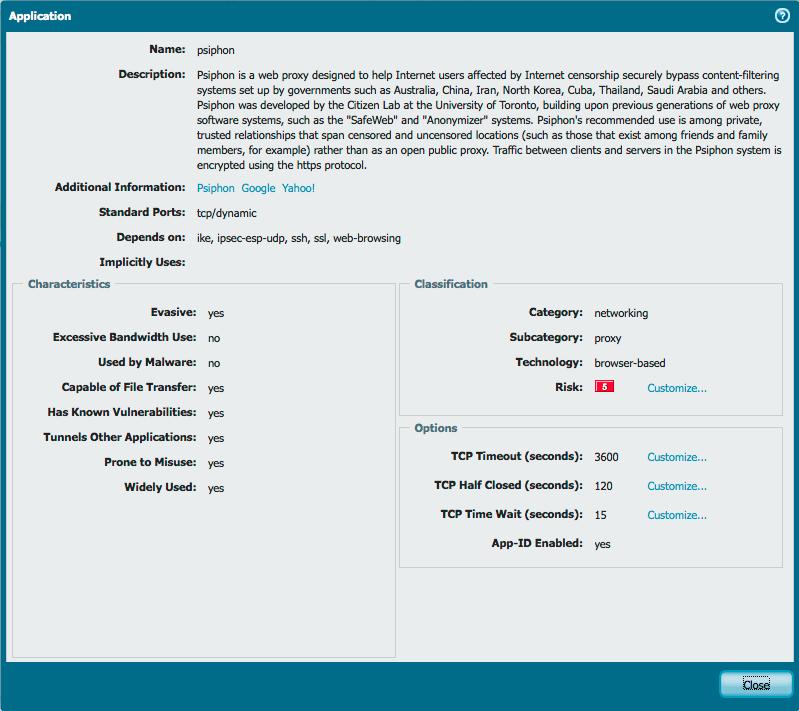 Palo Alto Networks Knowledgebase: DotW: Blocking PSiphon 3