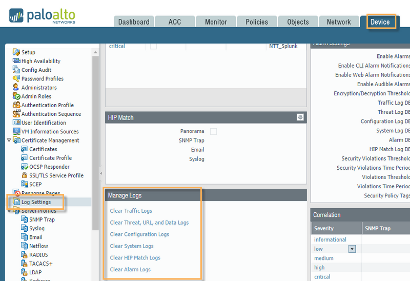 Palo Alto Networks Knowledgebase: How to Clear Logs on a