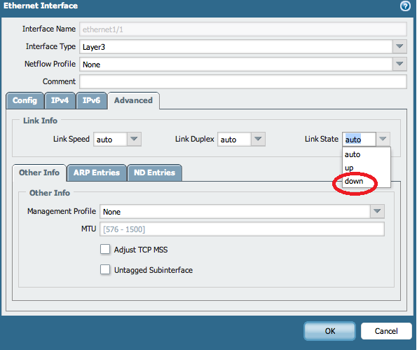 Palo Alto Networks Knowledgebase: How to Shut Down an Interface from