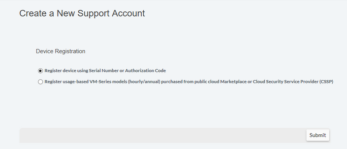 Screenshot of Create a New Support Account Device Registration