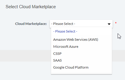 screenshot of select a cloud marketplace