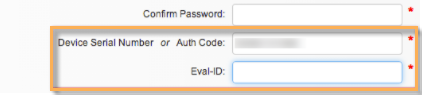 Screenshot of section for Serial Number or Auth Code on form