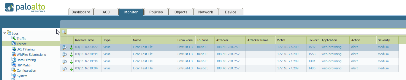 Threat log showing eicar file being detected