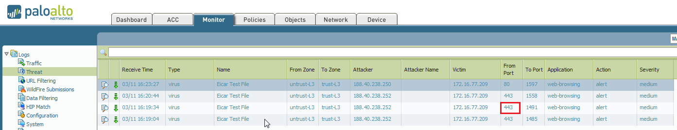Output of the threat logs