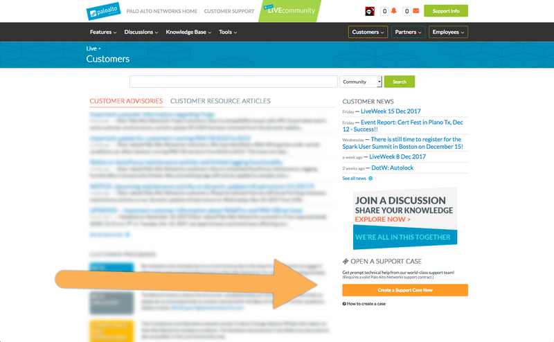 View of Live Community with large orange arrow pointing at Create Support Case button.png
