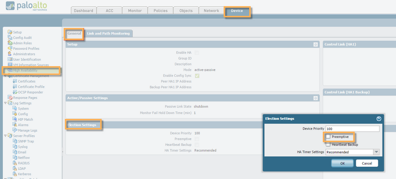 View of PAN-OS Device High Availability screen in Election Settings