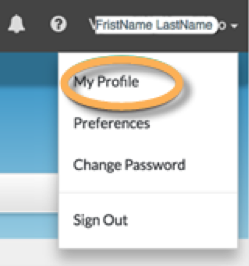 Login to CSP, click the dropdown next to your name, navigate to the My Profile page on the top right section.