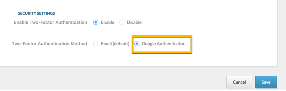 Inside My Profile, scroll down to the Security Settings. Choose the radio button for Google Authenticator and click Save to save your changes.