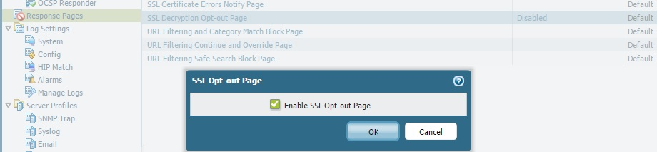 Option for enabling SSL Decryption Notification Web Page on the firewall GUI