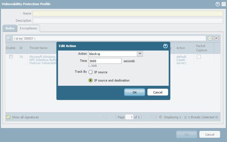 ソースと宛先の IP アドレスに基づいて、ブロックに脆弱性の例外を追加 ...