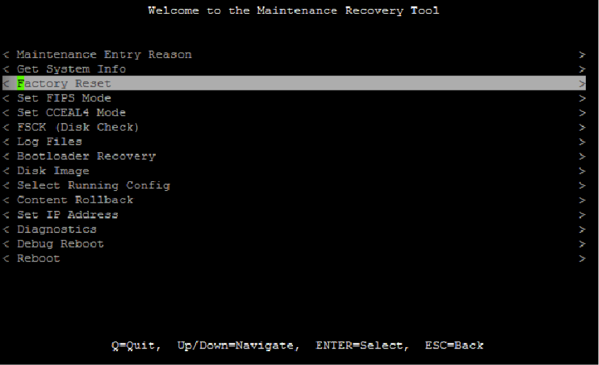 Screenshot of Welcome to the Maintenance Recovery Tool with Factory Reset highlighted