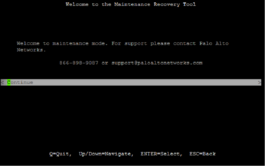 Screenshot of Welcome to the Maintenance Recovery Tool with Continue highlighted