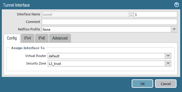 Screenshot of Tunnel Interface Config Tab