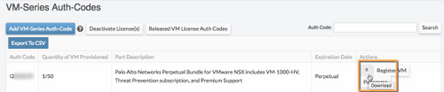 Screenshot of VM-Series Auth-Codes Download icon