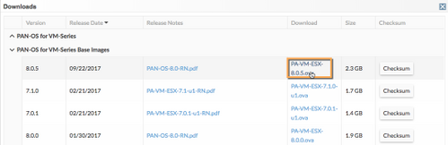 Screenshot of downloads popup with PA-VM-ESX-8.0.5 highlighted