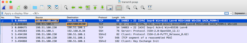 Transmit.pcap packet capture opened in WireShark denoting the Source and Destination IP addresses.