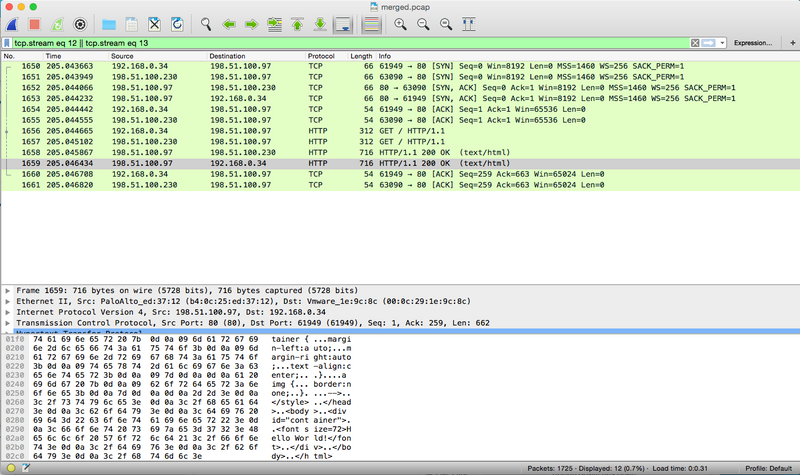 The receive.pcap and transmit.pcap are megered together within the WireShark view