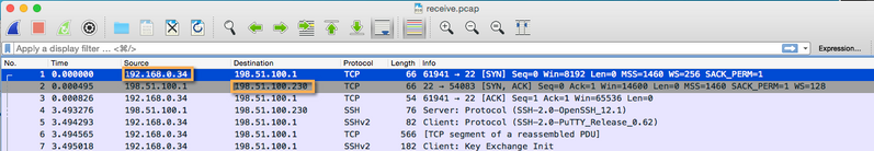 Receive.pcap packet capture opened in WireShark denoting the Source and Destination IP addresses.