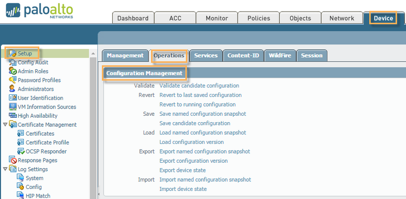 View of PAN-OS Device setup screen in Configuration Management