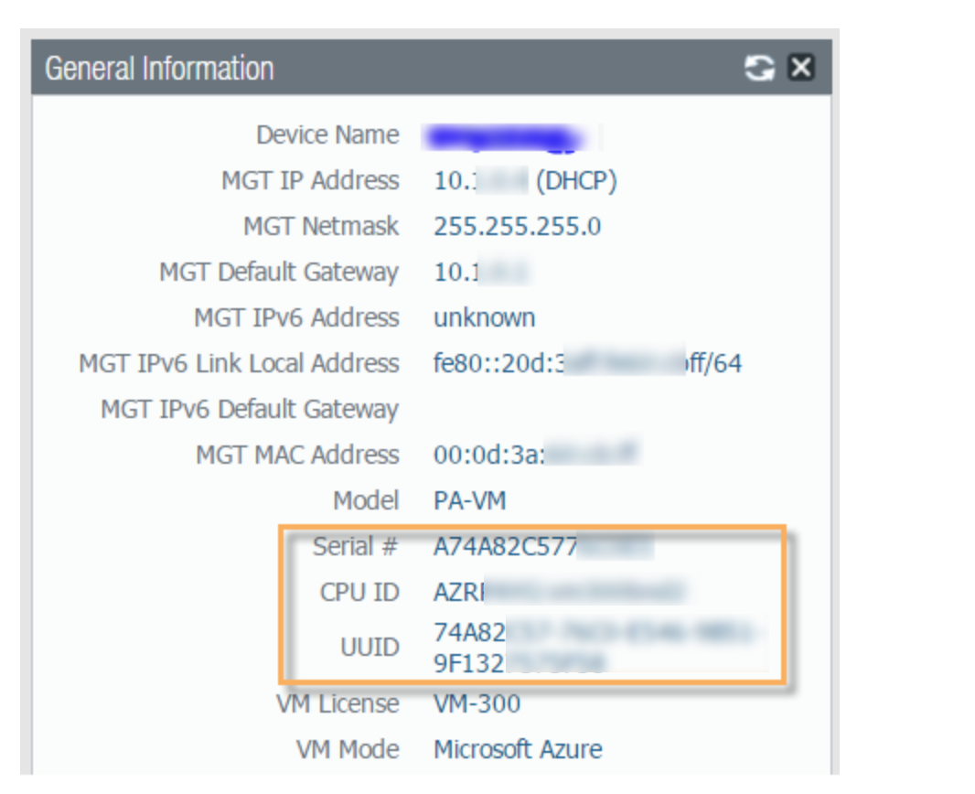 Screenshot of General Info from dashboard for Microsoft Azure