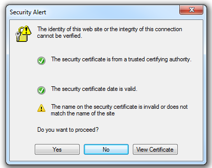Internet Explorer (IE) browser giving an error due to untrusted CA certificate being presented